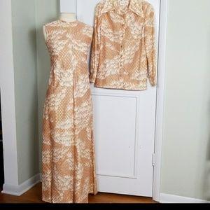 Vintage Leslie Fay 2 Piece Set Maxi Dress Metallic